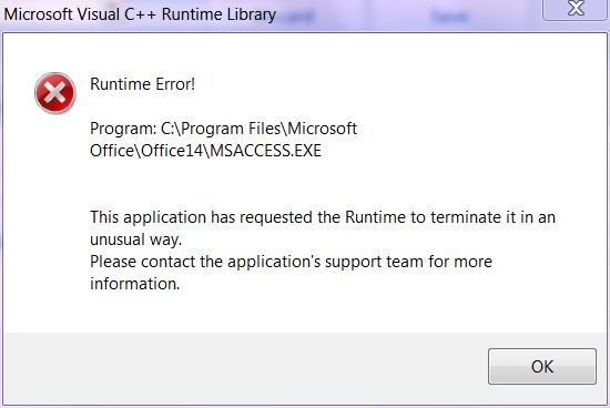 runtime error this application has requested the runtime to terminate