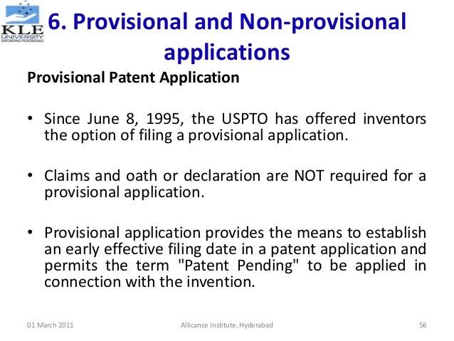 non provisional utility patent application example