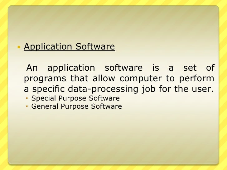 special purpose application software examples