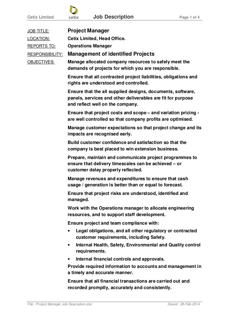 application project manager job description