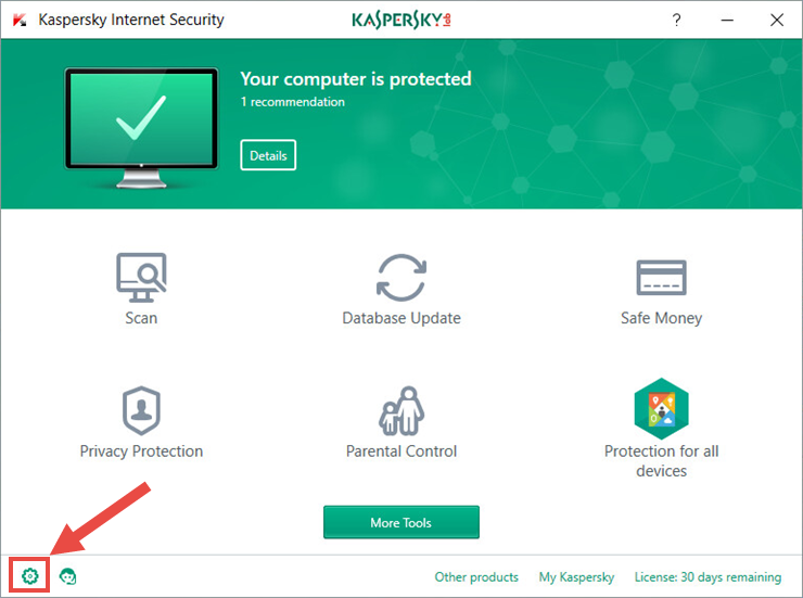 kaspersky internet security loading the application