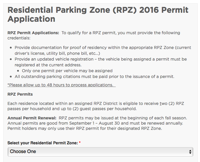 mobility parking permit application form