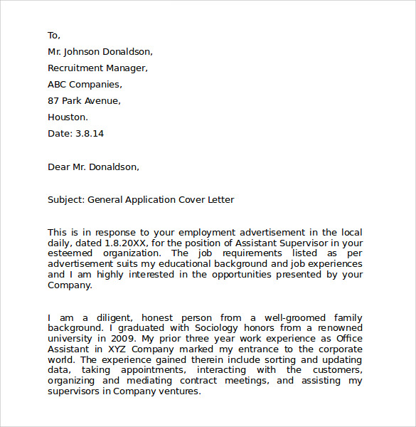 application letter for employment as a cleaner