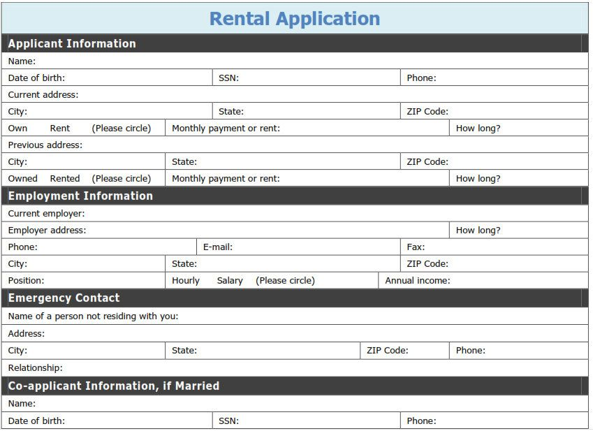 application for rental property template