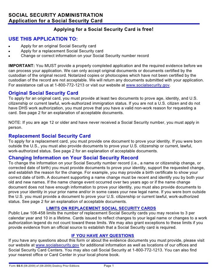 social security card application preparation