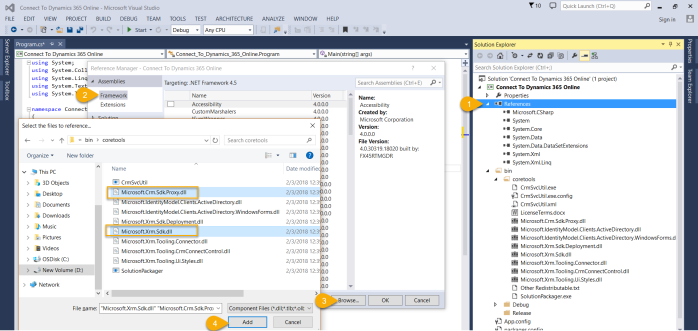 how to connect to ms crm from console application