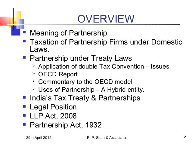 the application of the oecd model tax convention to partnerships