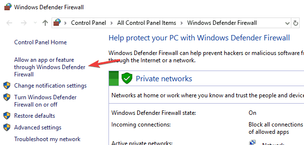 windows 8.1 firewall block application