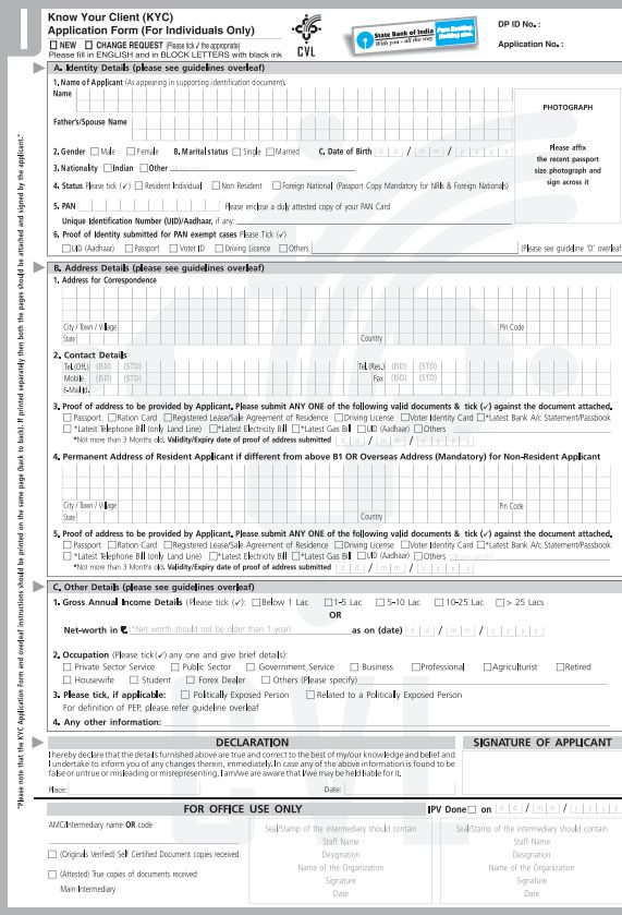 state bank of india application form pdf