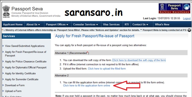 can i print passport application form online