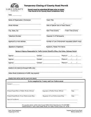 temporary road closure application form