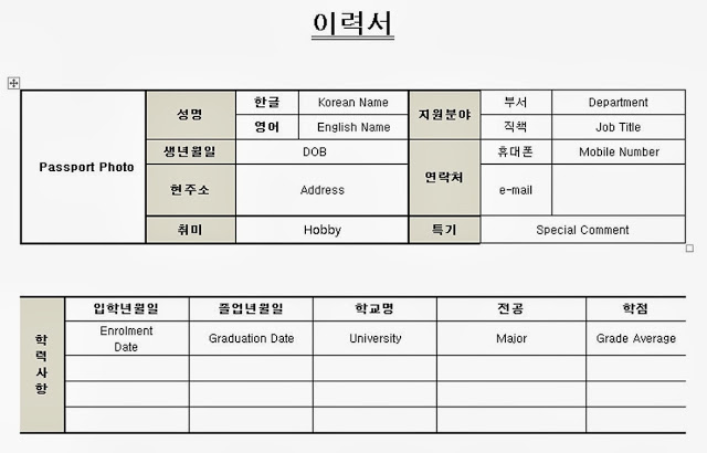 korean visa application form word format