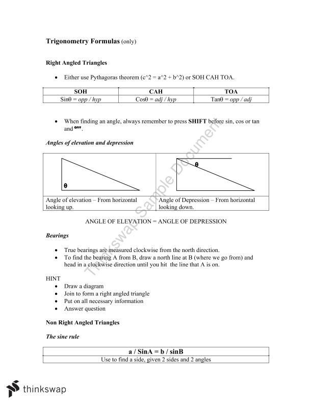 maths applications year 11 notes