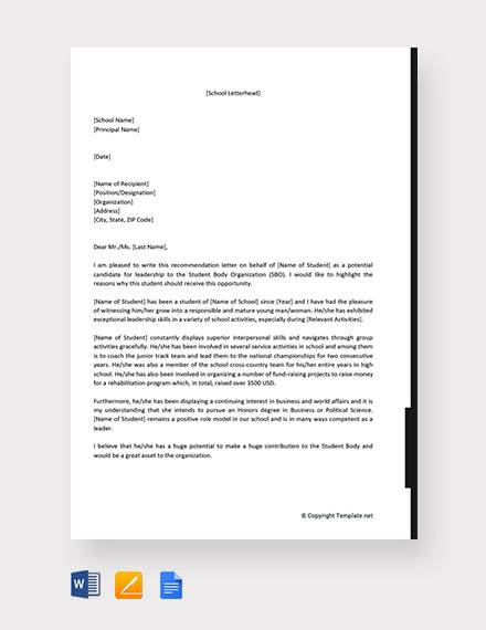 examples of student leadership application letter