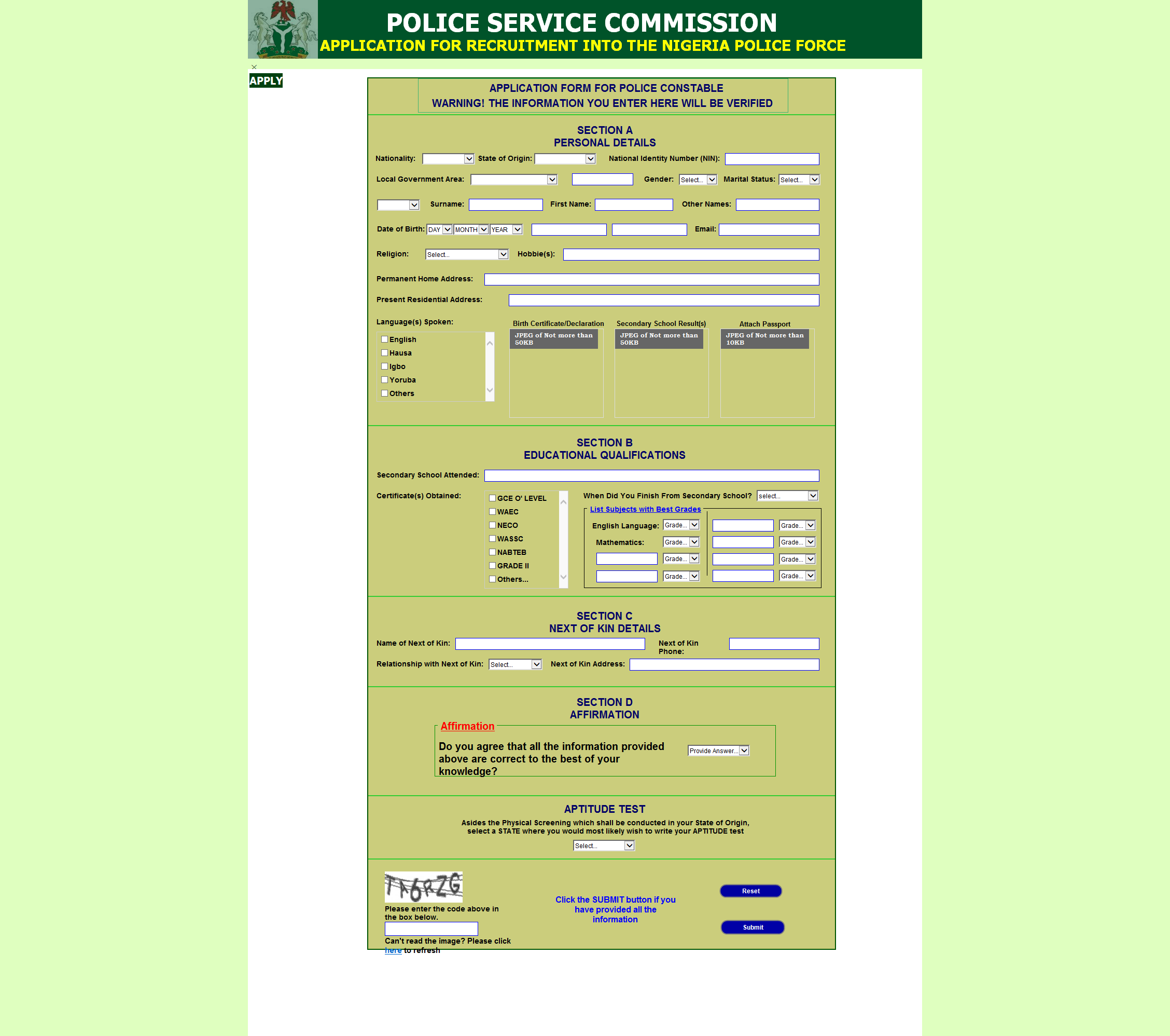 join police force application form