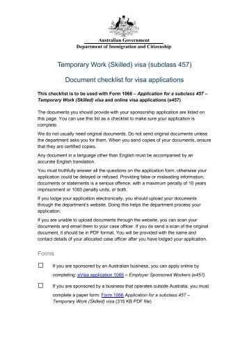 subclass 457 visa application form