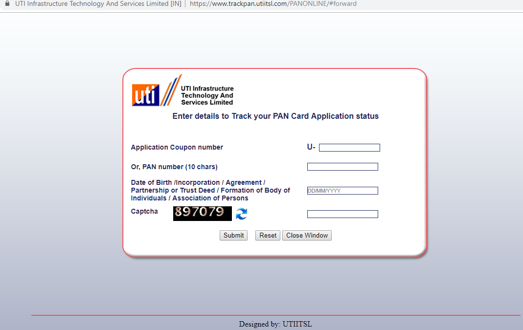check pan card application status