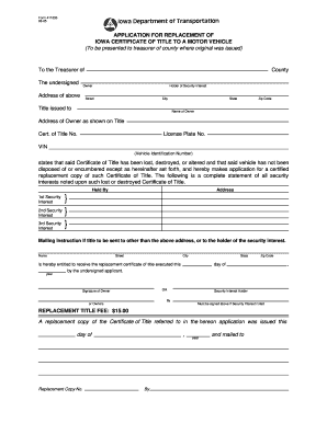 application for a certified copy of title
