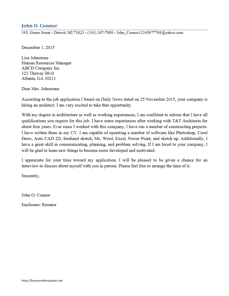 application letter for architecture internship