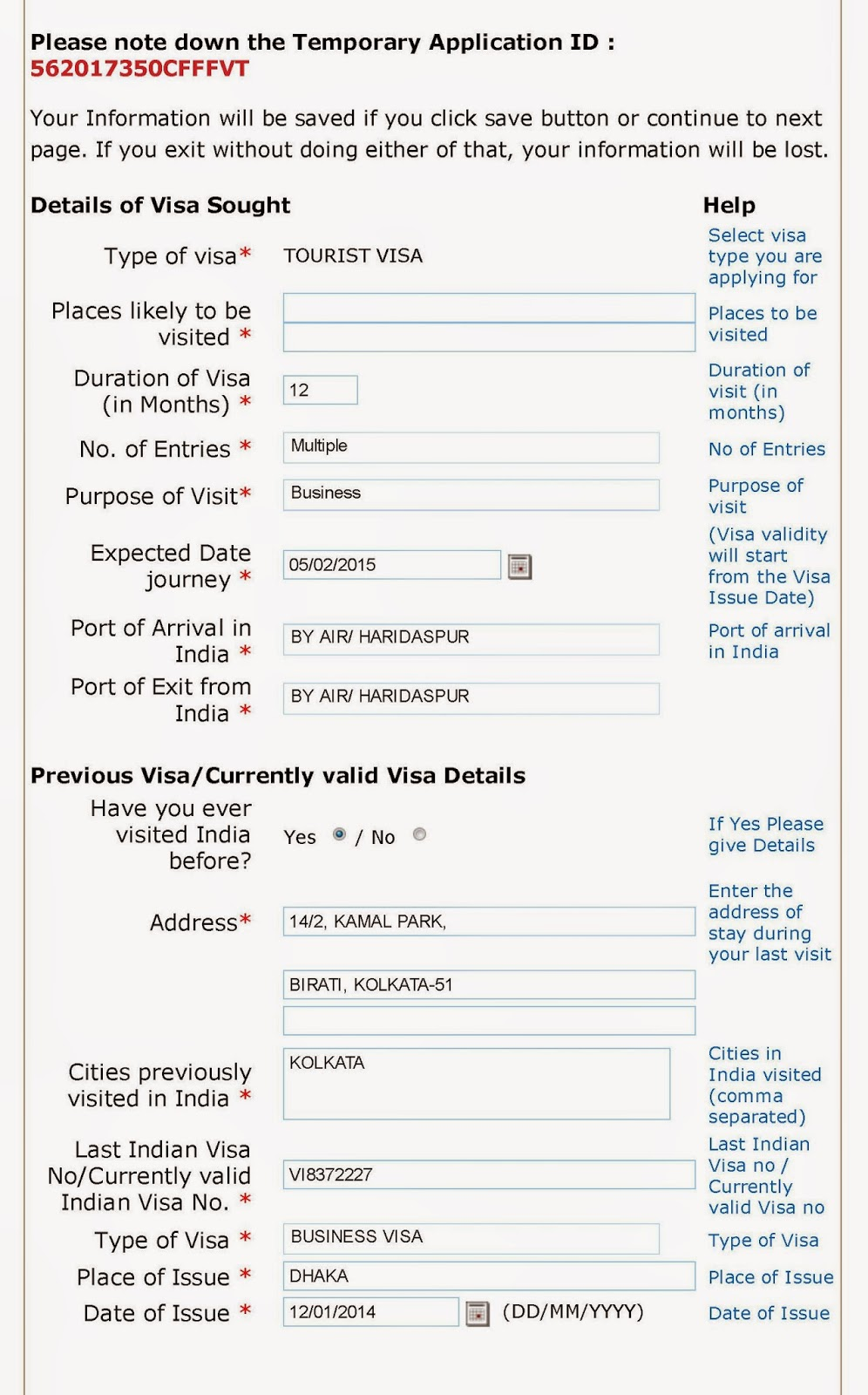 visa on arrival india application form