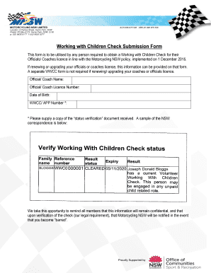 working with childrens check application sa