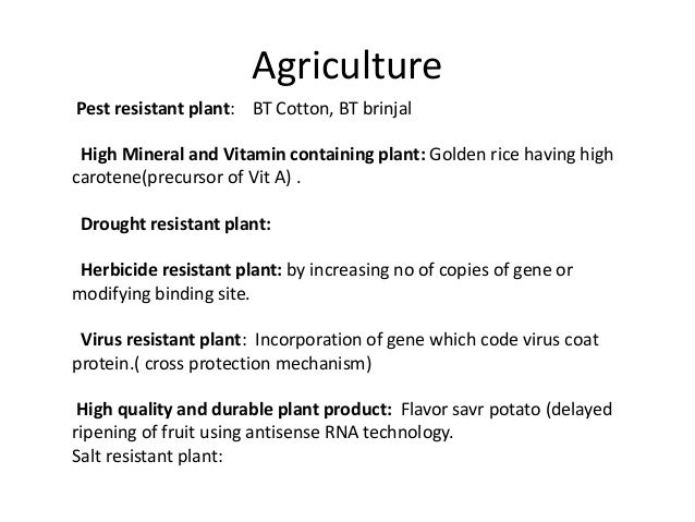 application of recombinant dna technology in agriculture