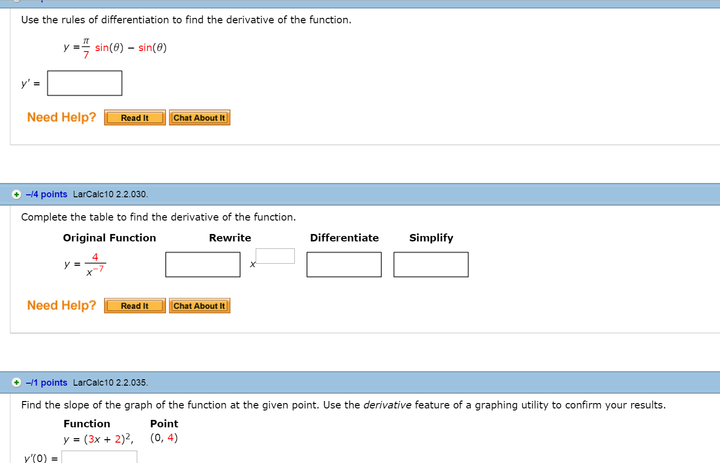 application of differentiation questions and answers