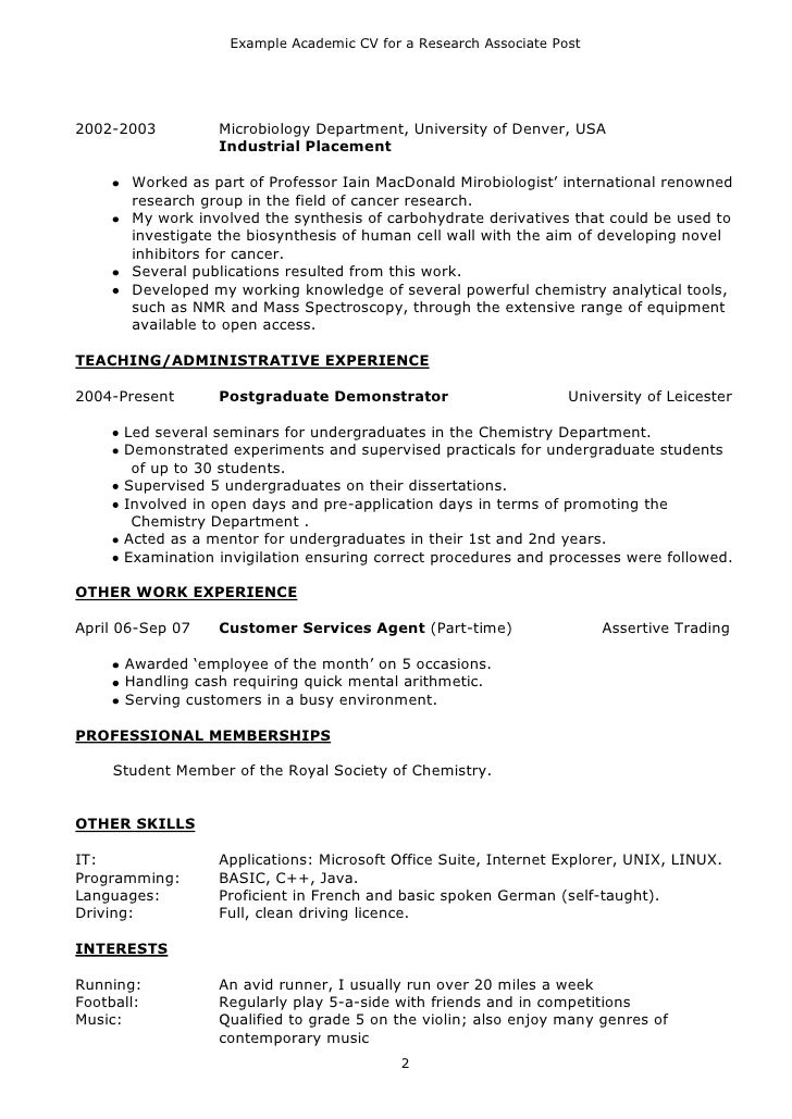 cv for phd application biology