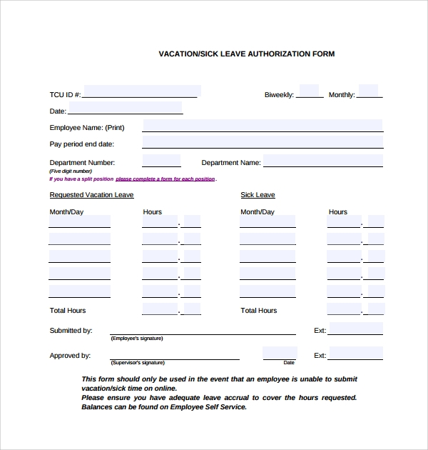leave application sample for employee