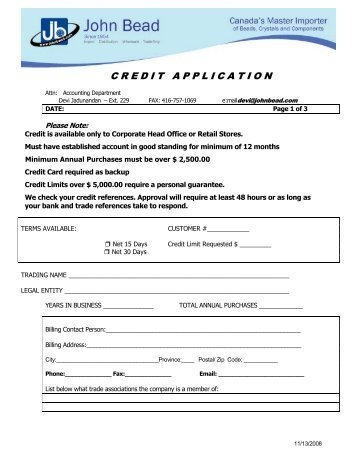 new customer credit application form