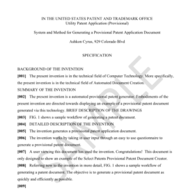 non provisional patent application template