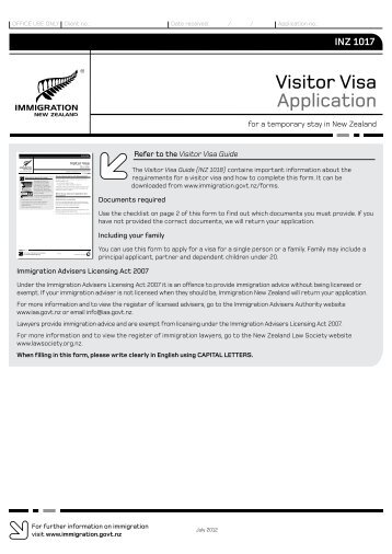 1419 application for a visitor visa