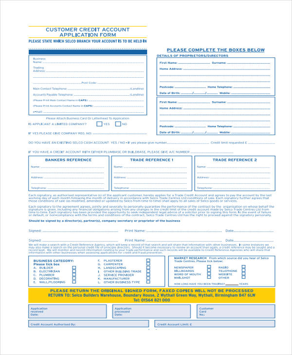 trade account application form template