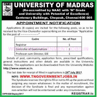 madras university application form 2017