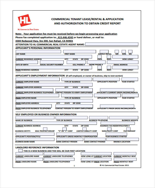 credit application form for rental property