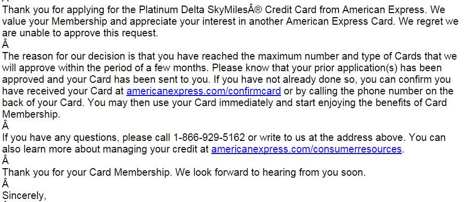 american express application status cancelled