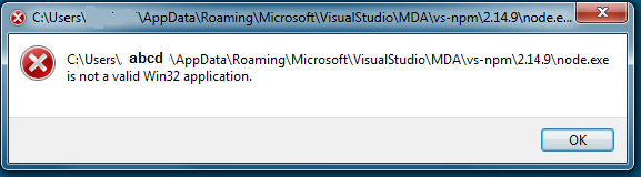 is not a valid win32 application visual studio