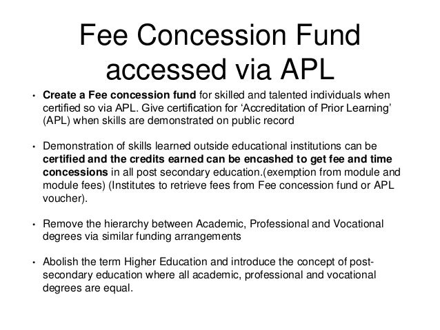 fee concession application for kids school