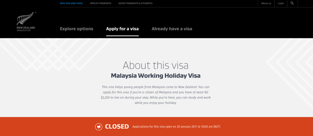 new zealand working holiday application