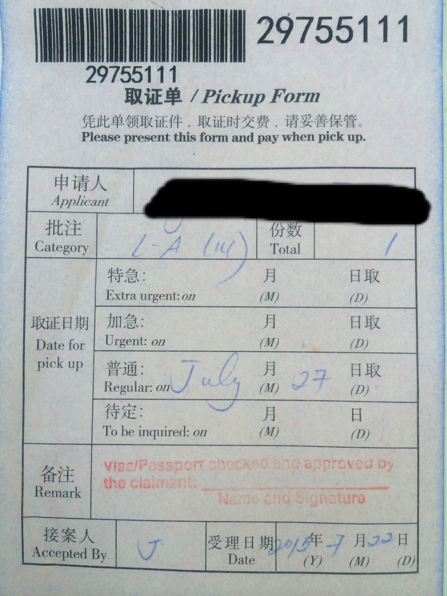 china travel visa application form