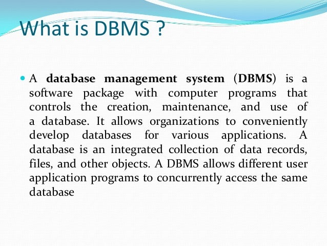 applications of database management system