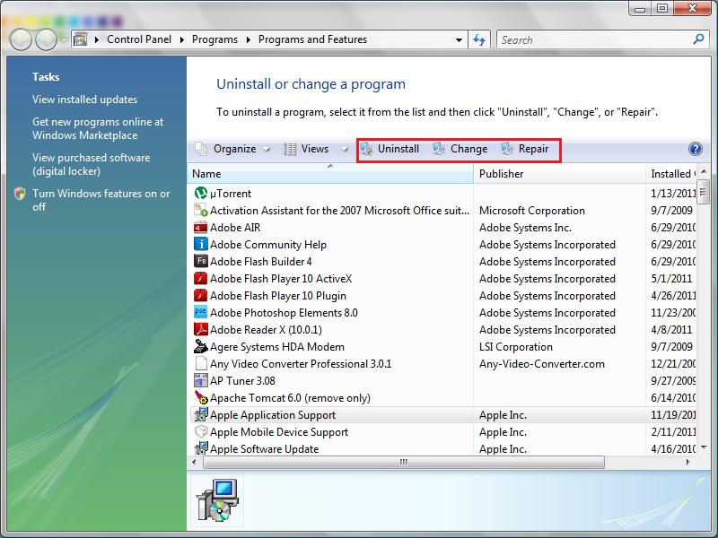 how to uninstall application in windows 7