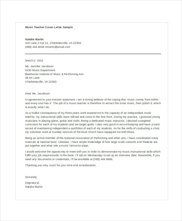 application letter for english teacher sample
