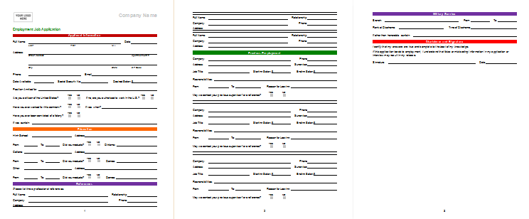 sample employment application word format