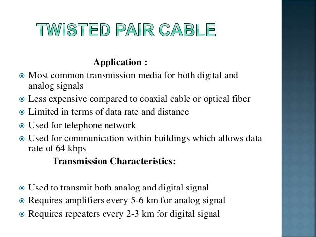 application of twisted pair cable