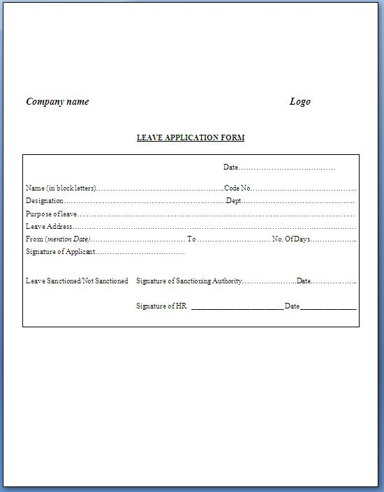 write an application for leave