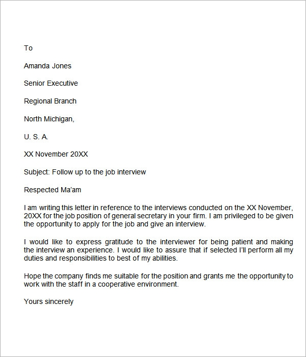 follow up letter for job application