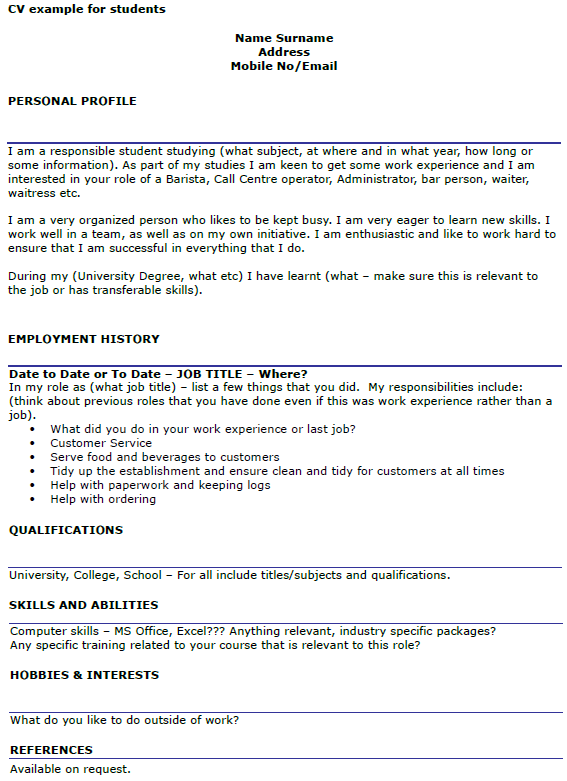 sample resume for master degree application