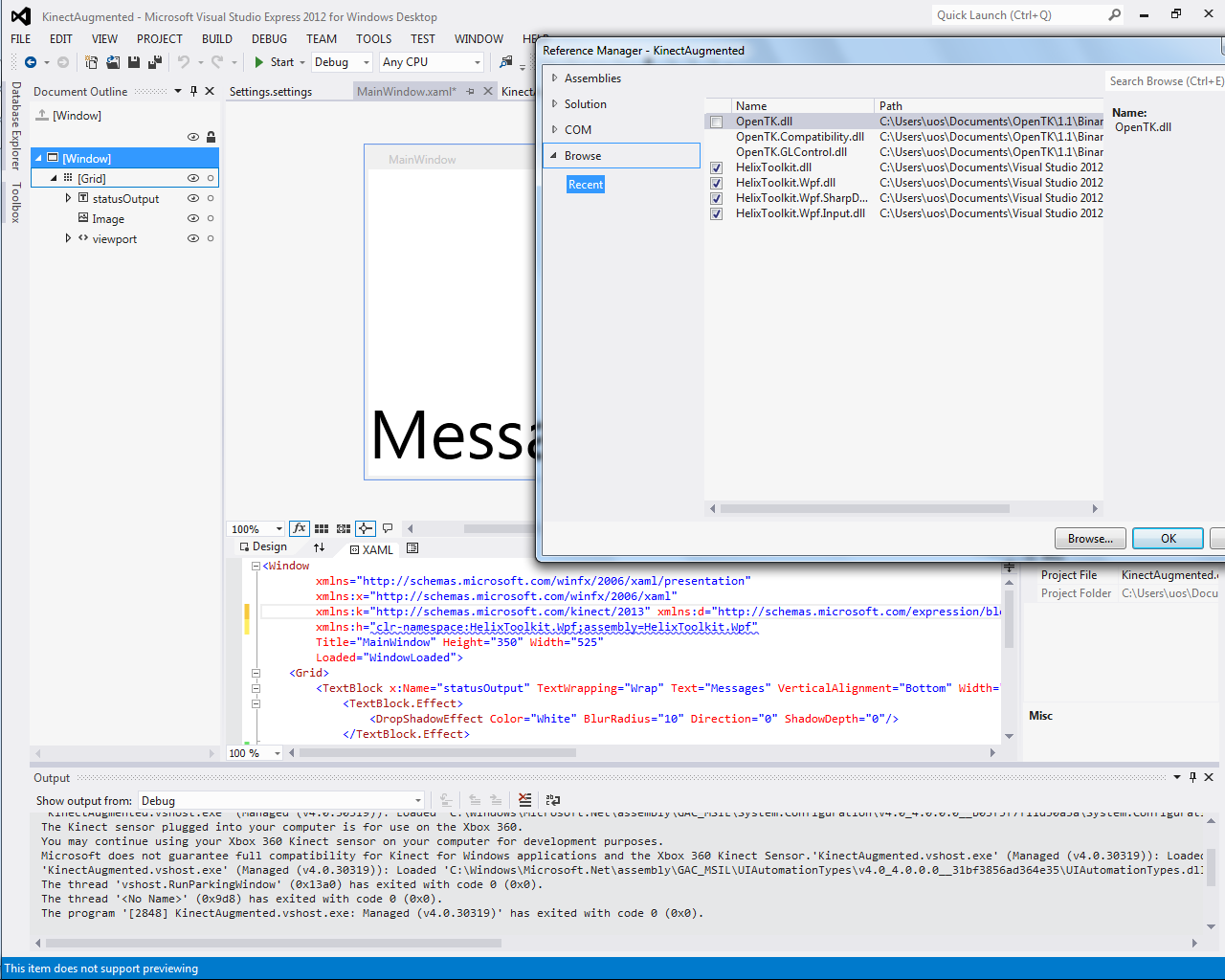 how to create wpf application in visual studio 2012