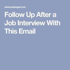 sample follow up email after job application